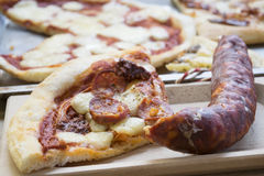 Home made capricciosa pizza Royalty Free Stock Images