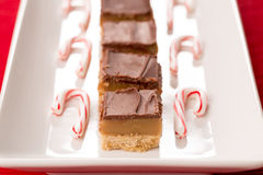 Home Made Caramel Bars and Candy Canes Stock Image