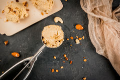 Home made caramel nut ice cream Stock Photography
