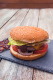 Home made cheese burger Stock Photography
