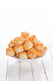 Home made cheese scones on white wood Stock Images