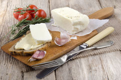Home made cheese on wooden board Royalty Free Stock Photography