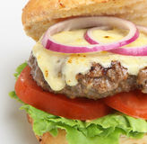 Home-made Cheeseburger. With red oinion and melted Cheddar Stock Image
