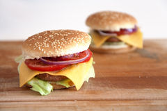 Home made cheeseburgers Royalty Free Stock Image
