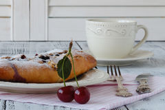 Home made cherry cake with vanilla and icing sugar Stock Images