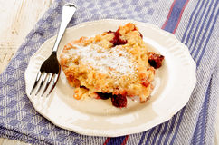 Home made cherry crumble with powdered sugar on a plate Royalty Free Stock Images