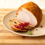 Home-made chicken ham with home-made bread Royalty Free Stock Photography