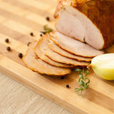 Home-made chicken ham with home-made bread Royalty Free Stock Image