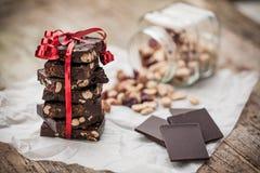 Home made chocolate as gift Stock Image