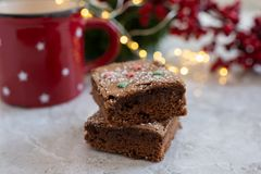 Free Home Made Chocolate Brownies For Christmas On A Table Royalty Free Stock Photography - 128746537