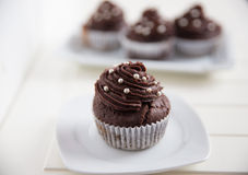Home made Chocolate Buttercream Cupcakes Stock Image