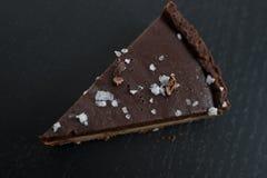 Chocolate caramell tarte with fleur de sal Royalty Free Stock Photo