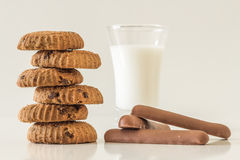 Home made chocolate chip cookies, chocolate and milk Stock Image