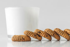 Home made chocolate chip cookies and milk Royalty Free Stock Photography