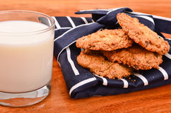 Home made chocolate chip cookies and milk stock images