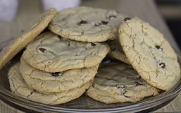 Home made chocolate chips cookies. Close up royalty free stock photography
