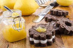 Home made chocolate cookie with lemon curd Royalty Free Stock Photo