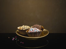 Home made chocolate truffles, sweets, confectionery. On plate, g Royalty Free Stock Photos