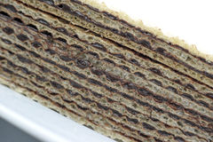 Home made chocolate wafer closeup. Home made chocolate wafer  side view closeup Royalty Free Stock Images
