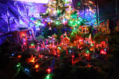 Home made christmas creche illuminated at night royalty free stock image