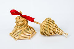 Home made Christmas decorations from straw Stock Photo
