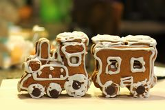 Home made Christmas gingerbread steam train decorated by children. Homemade Christmas gingerbread steam train decorated by children Stock Photography