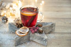 Home made christmas mulled wine stock image
