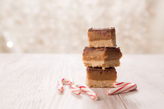Home Made Christmas Treats with Candy Canes. Home made caramel Christmas treats with candy canes Stock Image