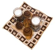 Home-made cinnamon snail bakery with latte Stock Photos