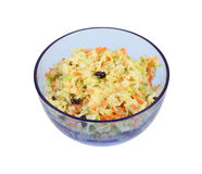 Home Made Cole Slaw. In a blue tinted glass serving bowl Royalty Free Stock Image
