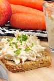 home made coleslaw with bread Stock Photo