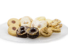 Home made cookies. Christmas cookies on a glass plate Royalty Free Stock Image