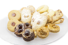 Home made cookies. Christmas cookies on a glass plate, shot taken with shallow depth of field DOF stock images