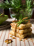 Home made cookies with rosemary and pignoli nuts Stock Photo
