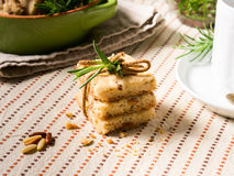 Home made cookies with rosemary and pignoli nuts Royalty Free Stock Photos