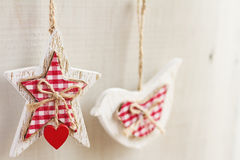 Home made crafty Christmas decorations hanging horizontal Royalty Free Stock Photos