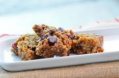 Home made cranberry flapjack Stock Photography