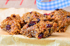 Home made cranberry flapjack Royalty Free Stock Images