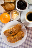 Home made croissants served for breakfast Royalty Free Stock Image