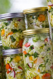 Home made cultured or fermented vegetables. In  glass jars Royalty Free Stock Photography