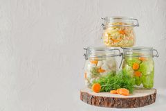 Fermented preserved vegetarian food concept. Cabbage, broccoli, caulie, sauerkraut sour glass jars on white background stock image