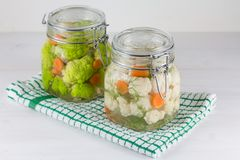 Fermented preserved vegetarian food concept. green cauliflower or broccoli sour glass jars on the white background stock photo