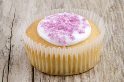 Home made cup cake with pink shimmer sugar Royalty Free Stock Photos