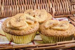 Home made cupcake with dried banana slices Royalty Free Stock Photo