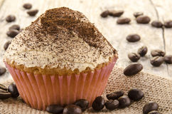Home made cupcake with powdered coffee Stock Photo