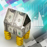Home made by currency and coins Stock Photos