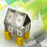 Home made by currency and coins Stock Images