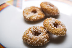 Home made delicious Dough Nuts. Dough Nuts are a type of fried dough confectionery or dessert food or sweet dishes Royalty Free Stock Photography