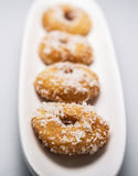 Home made delicious Dough Nuts. Dough Nuts are a type of fried dough confectionery or dessert food or sweet dishes Stock Photo