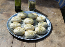 Home made dough bread with olive oli. And spices royalty free stock photos